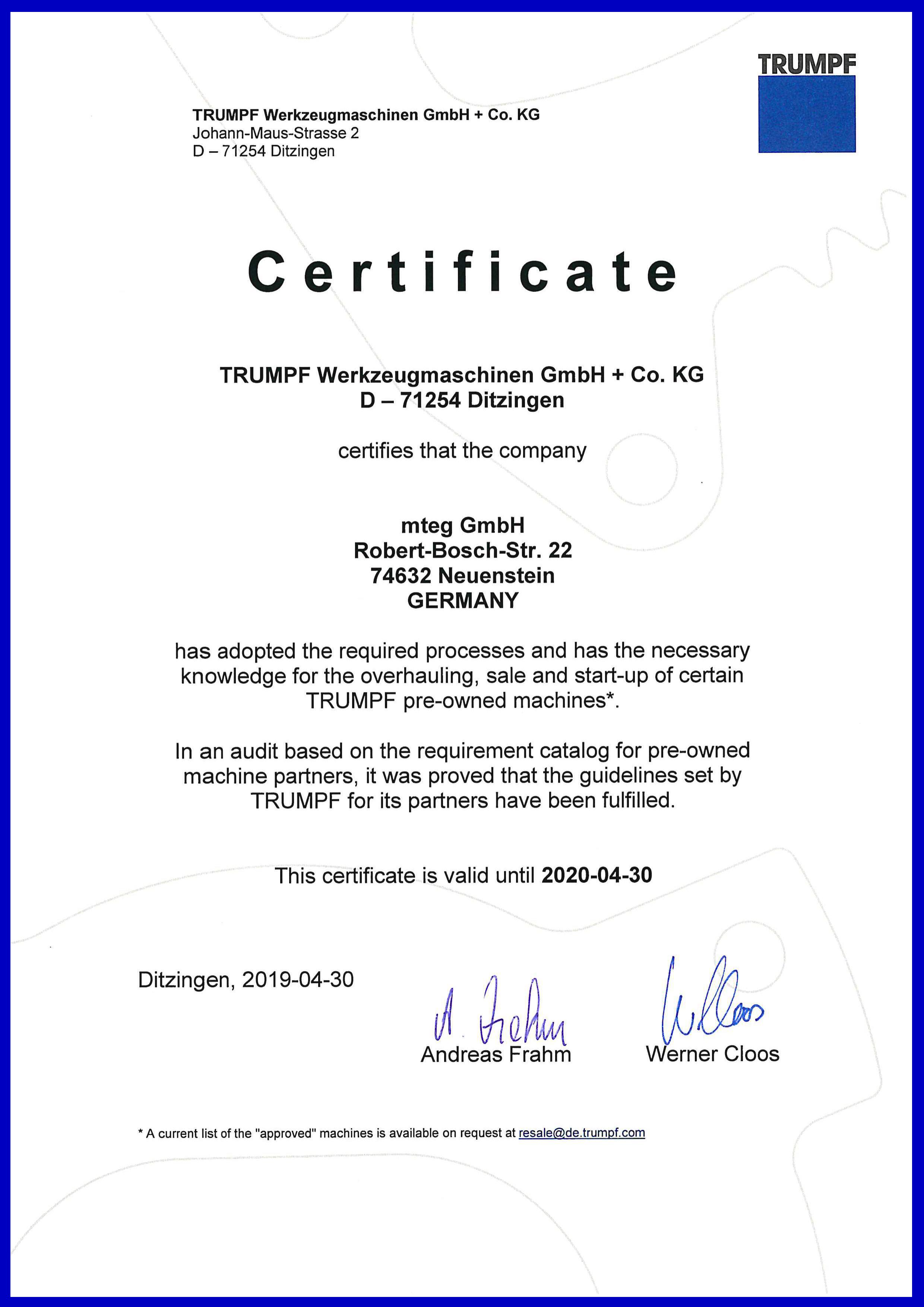 Certified TRUMPF Partner - mteg GmbH